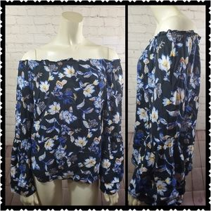 WHBM off shoulder floral blouse bell sleeve small